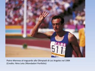 Pietro Mennea al traguardo alle Olimpiadi di Los Angeles nel 1984