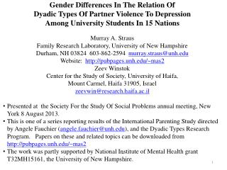 Gender Differences In The Relation Of  Dyadic Types Of Partner Violence To Depression
