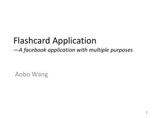 Flashcard Application —A  facebook  application with multiple purposes