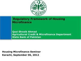 Housing Microfinance Seminar Karachi, September 06, 2012