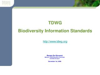 TDWG Biodiversity Information Standards tdwg