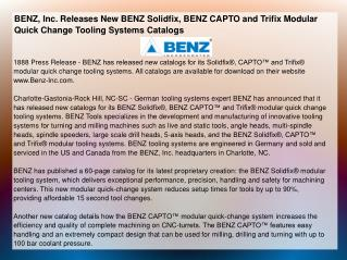 BENZ, Inc. Releases New BENZ Solidfix, BENZ CAPTO and Trifix
