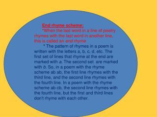 End rhyme scheme: