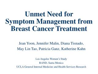 Unmet Need for  Symptom Management from  Breast Cancer Treatment