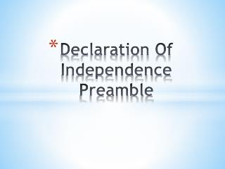 Declaration Of Independence Preamble