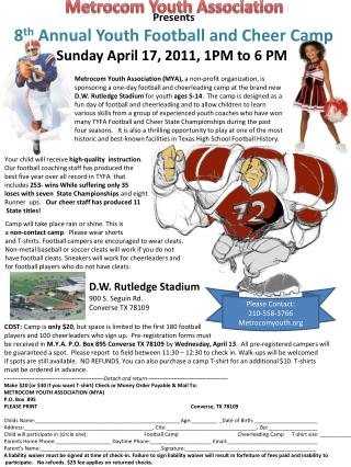 Presents 8 th  Annual Youth Football and Cheer Camp Sunday April 17, 2011, 1PM to 6 PM