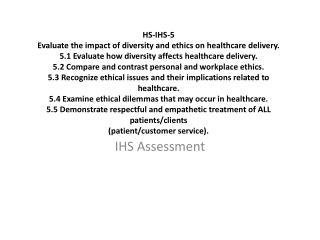IHS Assessment