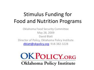 Stimulus Funding for  Food and Nutrition Programs