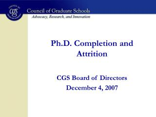 Ph.D. Completion and Attrition
