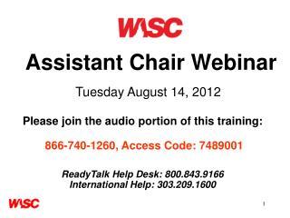 Assistant Chair Webinar