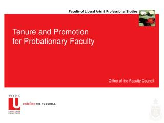 Tenure and Promotion for Probationary Faculty