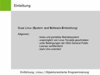 Einführung: Linux / Objektorientierte Programmierung