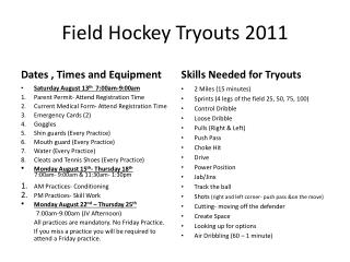 Field Hockey Tryouts  2011
