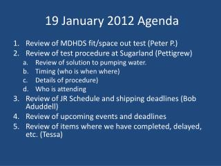 19 January 2012 Agenda