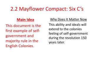 2.2 Mayflower Compact: Six C's