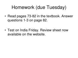 Homework (due Tuesday)