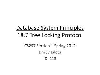 Database System Principles 18.7 Tree Locking Protocol