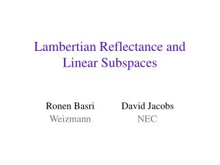 Lambertian Reflectance and Linear Subspaces