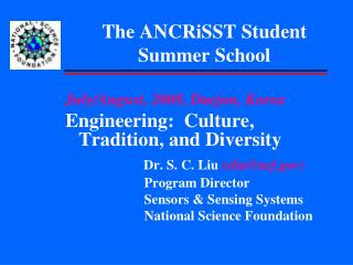 The ANCRiSST Student Summer School