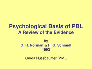 Psychological Basis of PBL A Review of the Evidence