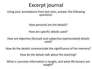 Excerpt journal