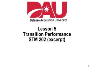 Lesson 5 Transition Performance STM 202 (excerpt)