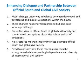 Enhancing Dialogue and Partnership Between Official South and Global Civil Society