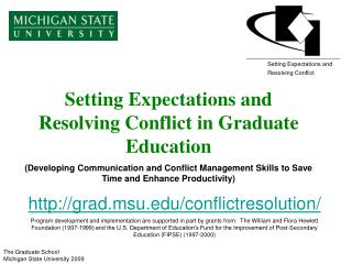 Setting Expectations and Resolving Conflict in Graduate Education