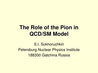 The Role of the Pion in QCD/SM Model
