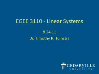 EGEE 3110 - Linear Systems