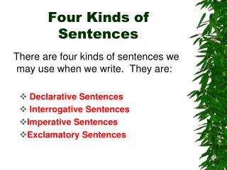 Four Kinds of Sentences