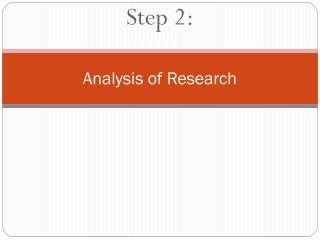 Analysis of Research