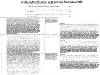 Questions, Mark Schemes and  E xaminers Reports June 2012