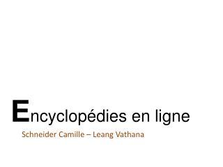 E ncyclopédies en ligne