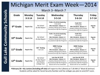 Michigan Merit Exam Week—2014 March 3-- March 7