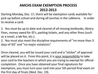 AMCHS EXAM EXEMPTION PROCESS 2012-2013