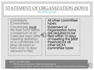 Statement of Organization (SofO) Section 169.224