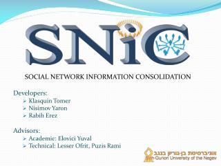 Social Network Information Consolidation Developers: Klasquin Tomer Nisimov Yaron Rabih  Erez