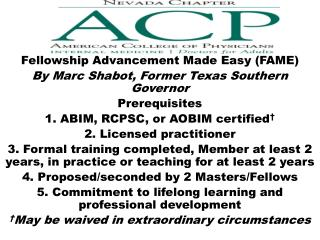 Fellowship Advancement Made Easy (FAME) By Marc  Shabot ,  Former Texas  Southern Governor