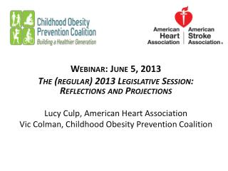 Webinar: June 5, 2013 The (regular) 2013 Legislative Session:  Reflections and Projections