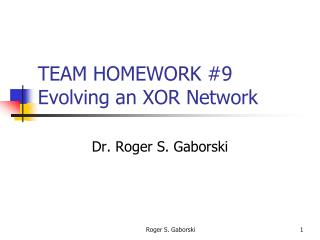TEAM HOMEWORK #9 Evolving an XOR Network