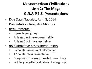 Mesoamerican Civilizations Unit 2: The Maya G.R.A.P.E.S. Presentations