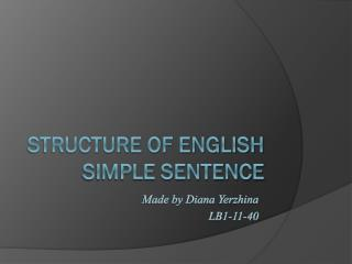 Structure of English simple sentence