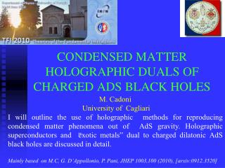 CONDENSED MATTER HOLOGRAPHIC DUALS OF CHARGED ADS BLACK HOLES