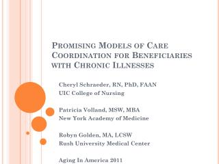 Promising Models of Care Coordination for Beneficiaries with Chronic Illnesses