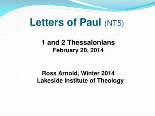 Letters of Paul  (NT5)