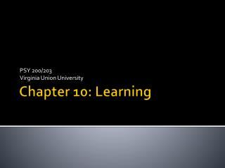 Chapter  10:  Learning