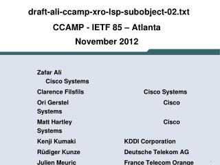 draft -ali-ccamp-xro-lsp-subobject-02.txt