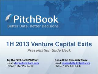 1H 2013 Venture Capital Exits Presentation Slide Deck