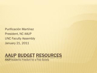 AAUP BUDGET RESOURCES AAUP: Academic  Freedom for a Free Society